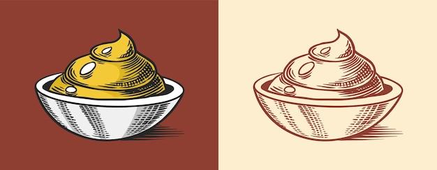 Дип с горчичными или пряными приправами или соус для макания