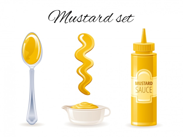 Mustard sauce icon set with hot american mustard sauce bottle, bowl, spoon, splash.