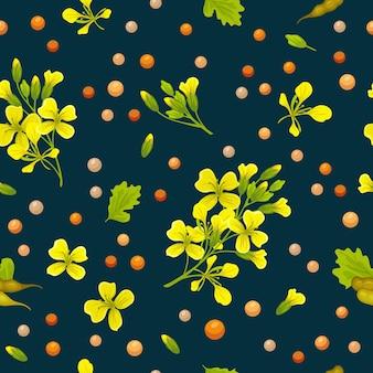 Mustard seamless pattern on blue