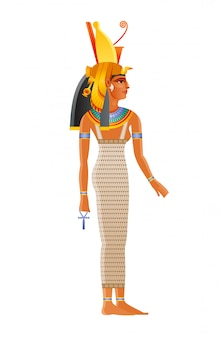 Mut ancient egyptian daity. mother goddess worshipped in ancient egypt. wearing double crown plus royal vulture headdress. also can be queen nefertari meritmut, pharaoh wife.