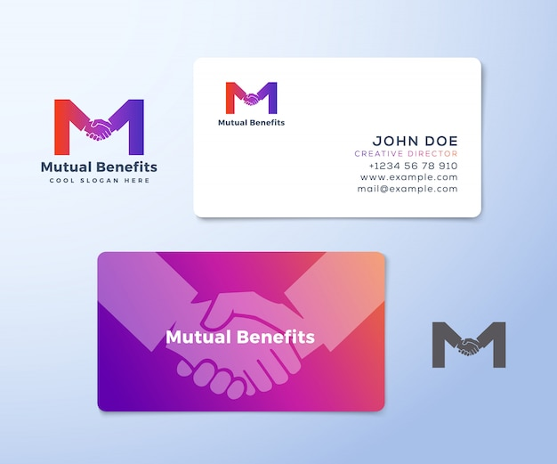 Mutual benefit abstract  sign, symbol or logo template and business cards. hand shake incorporated in letter m concept stationary.
