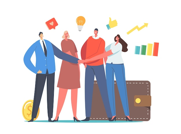 Mutual fund, businesspeople compound finance help concept. office colleagues male and female characters join hands with wallet, money and business icons around. cartoon people vector illustration