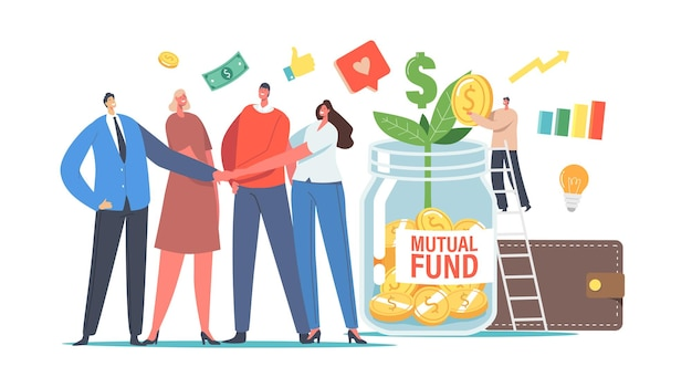 Mutual fund concept. office colleagues male and female characters join hands, tiny businessman put gold coin into huge glass jar with green sprout, finance help. cartoon people vector illustration