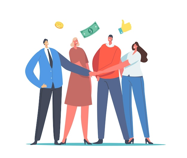 Mutual fund concept. office colleagues male and female characters join hands with money coins and bills around. businessmen and businesswomen compound finance help. cartoon people vector illustration