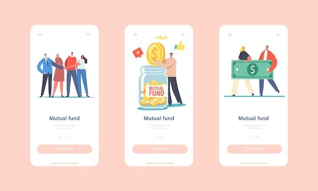 Встроенный шаблон экрана страницы мобильного приложения взаимного фонда. персонажи офисных коллег взяться за руки, бизнесмен положил золотую монету в огромную стеклянную банку, концепция финансовой помощи. мультфильм люди векторные иллюстрации