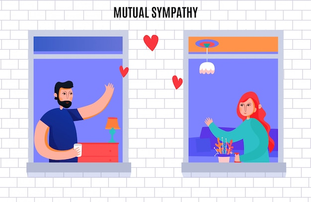 Mutual sympathy between man and woman composition with neighbors waving each other from windows