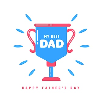 My best dad trophy cup on blue background for happy father's day concept.