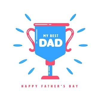 幸せな父の日のコンセプトのための青い背景の私の最高のお父さんトロフィーカップ。