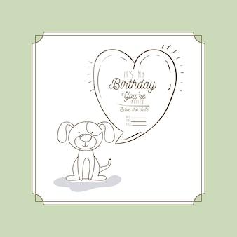 My birthday card hand draw animal vector illustration design