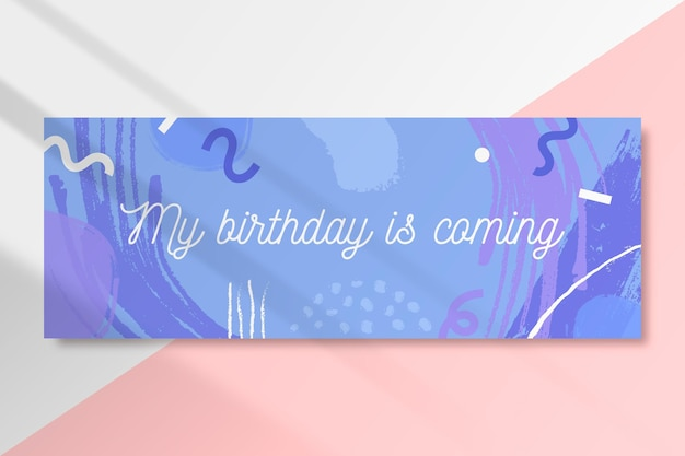 My birthday is coming abstract banner