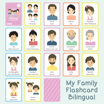 My family bilingual flashcards vector set