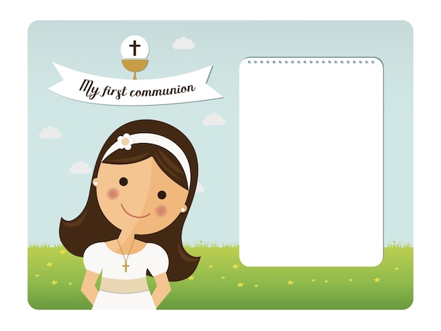 My first communion horizontal invitation