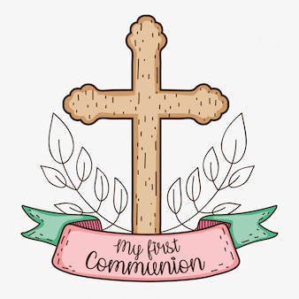 My first communion with cross and branches leaves
