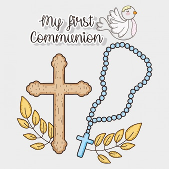 My first communion with rosary cross and dove
