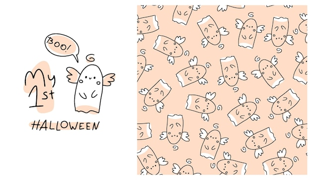 My first halloween seamless pattern a cute ghost in a simple handdrawn cartoon doodle style