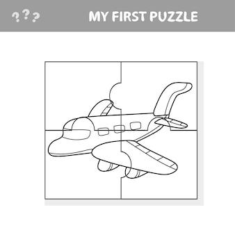 Моя первая головоломка и книжка-раскраска - самолет. рабочий лист. детская художественная игра
