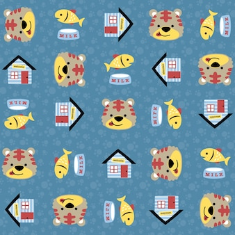 My funny pet cartoon on seamless pattern vector