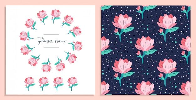 私の小さな花。小さなピンクのマグノリアの花カード。