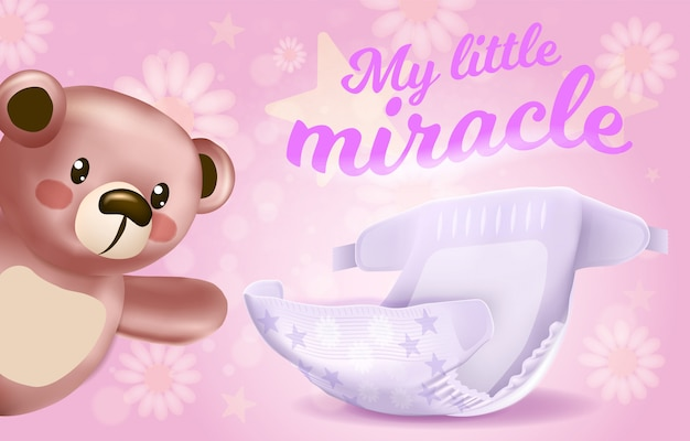 My little miracle horizontal banner, absorbent diaper