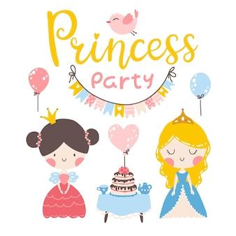 Моя маленькая принцесса симпатичные девочки-персонажи с надписью на день рождения