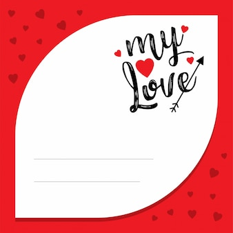 My love with red pattern frame Free Vector