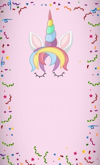 My magical unicorn logo in pastel color with blank background