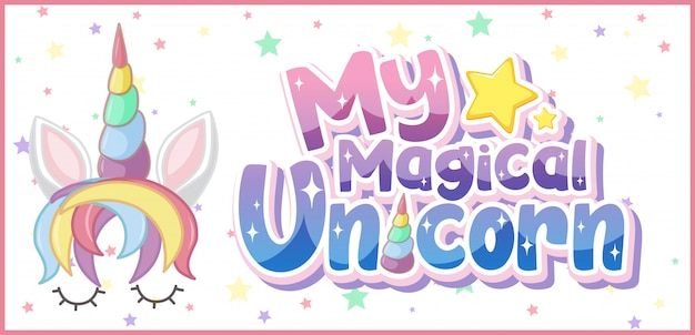 My magical unicorn logo in pastel color with cute unicorn and star confetti