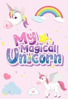 My magical unicorn logo on pink background
