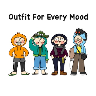 My outfit for every mood concept character doodle   illustration