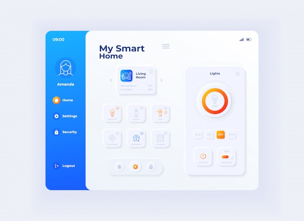 My smart home tablet interface template. mobile app page day mode design layout. iot devices management screen. flat ui for application. house automation settings on portable device display.