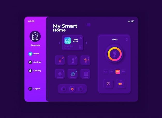 私のスマートホームタブレットインターフェイステンプレート。モバイルアプリページの夜間モードのデザインレイアウト。家庭用機器管理画面です。アプリケーションのフラットui。ポータブルデバイスディスプレイのiot設定。