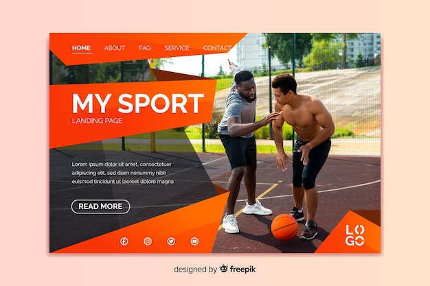 My sport landing page with photo