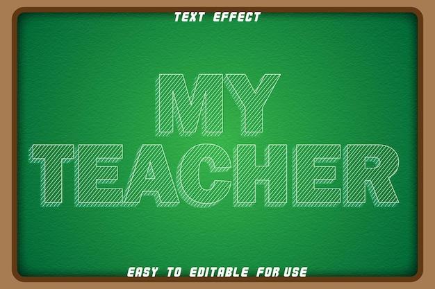 Редактируемый текстовый эффект моего учителя с тиснением в стиле комиксов
