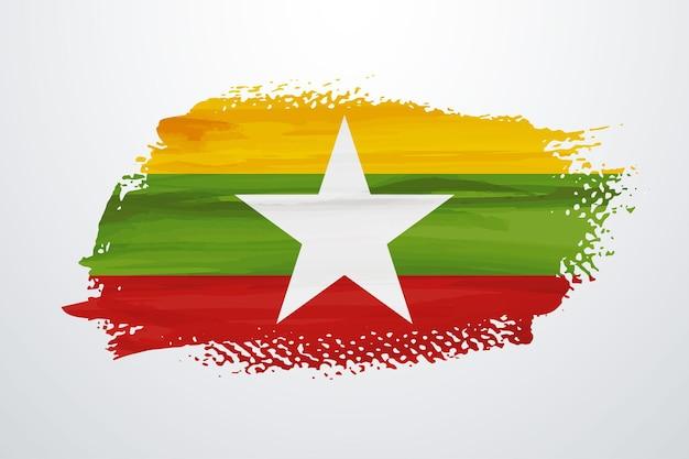 ミャンマーブラシペイントフラグ