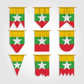 さまざまな形のミャンマーの旗、さまざまな形のミャンマーの旗