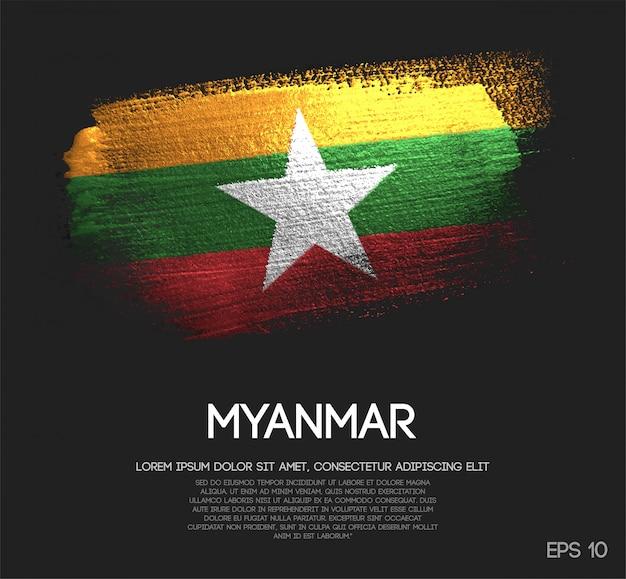 Myanmar flag made of glitter sparkle brush paint