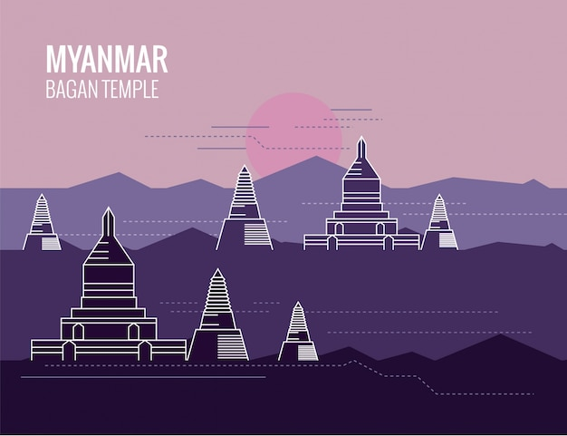 Myanmar temples background