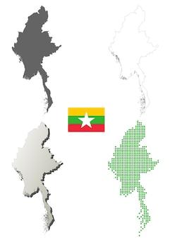 Myanmar vector outline map set