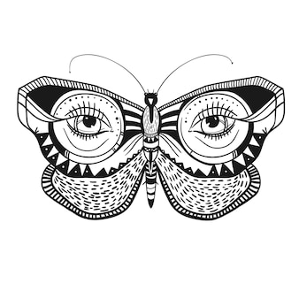 Mysterious butterfly with decorative ornaments vector illustration beautiful butterfly