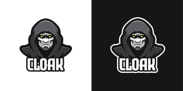 Mysterious cloaked man mascot character logo template