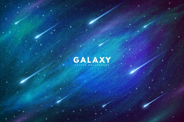 Mysterious galaxy background with shooting stars