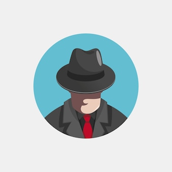 Mysterious gangster character illustration