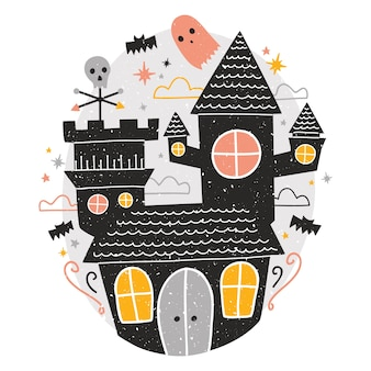 Mysterious haunted castle, cute funny scary ghosts and bats flying around against starry night sky on background