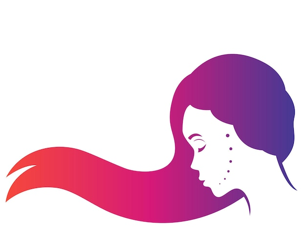 Mysterious long haired girl in profile, beautiful woman, side view on white, vector illustration