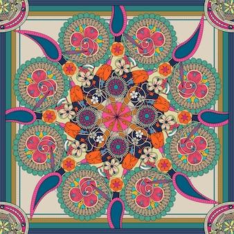 花の要素を持つ神秘的な曼荼羅の背景デザイン