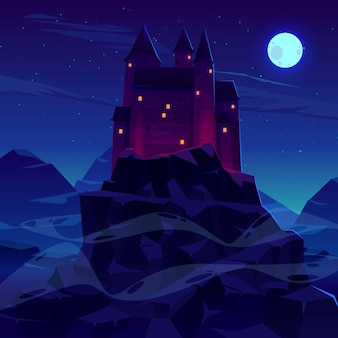 Mysterious medieval castle with stone towers spires