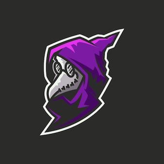 カラスマスクを身に着けている謎の人物のキャラクターのロゴ