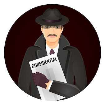 Mysterious private detective with confidential documents in hands. man in hat and coat illustration in circle.