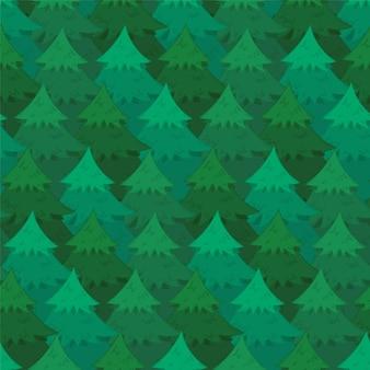 Таинственный бесшовный образец с зелеными перекрывающимися хвойными деревьями.
