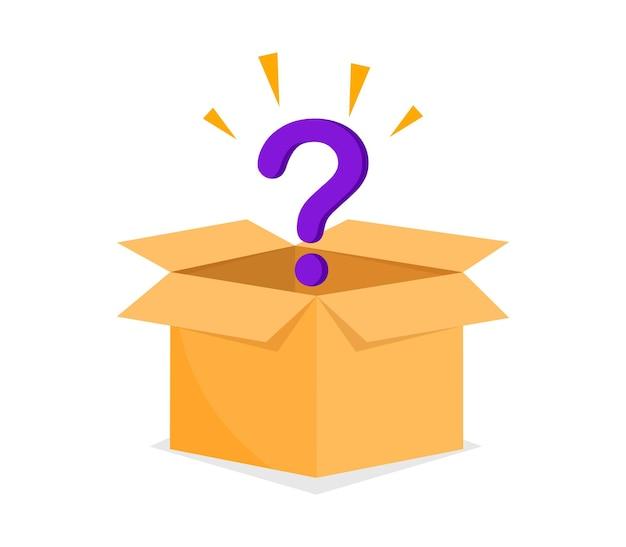 Концепция загадочной коробки открытая картонная коробка с вопросительным знаком